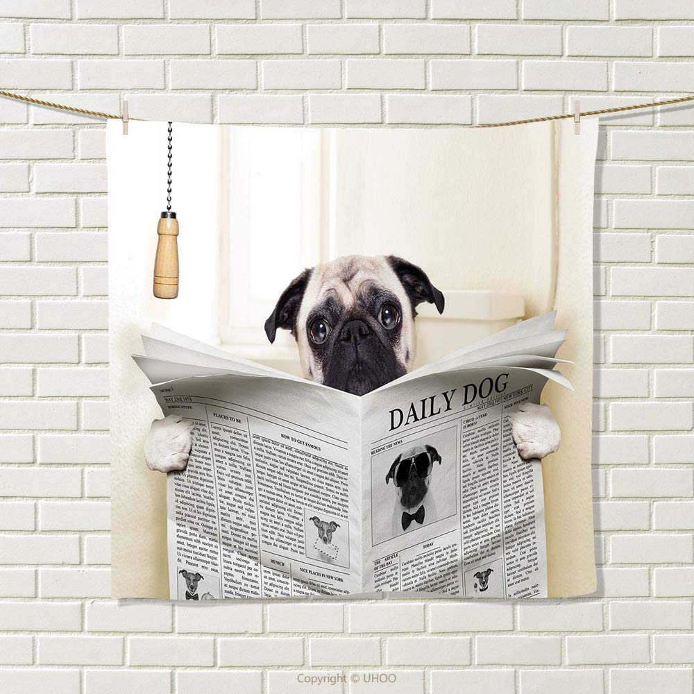 smallbeefly Pug Hand Towel Puppy Reading The Newspaper on The Toilet Bathroom Funny Image Pug Joke Print Quick-Dry Towels Cream Black White Size: W 20'' x L 31''