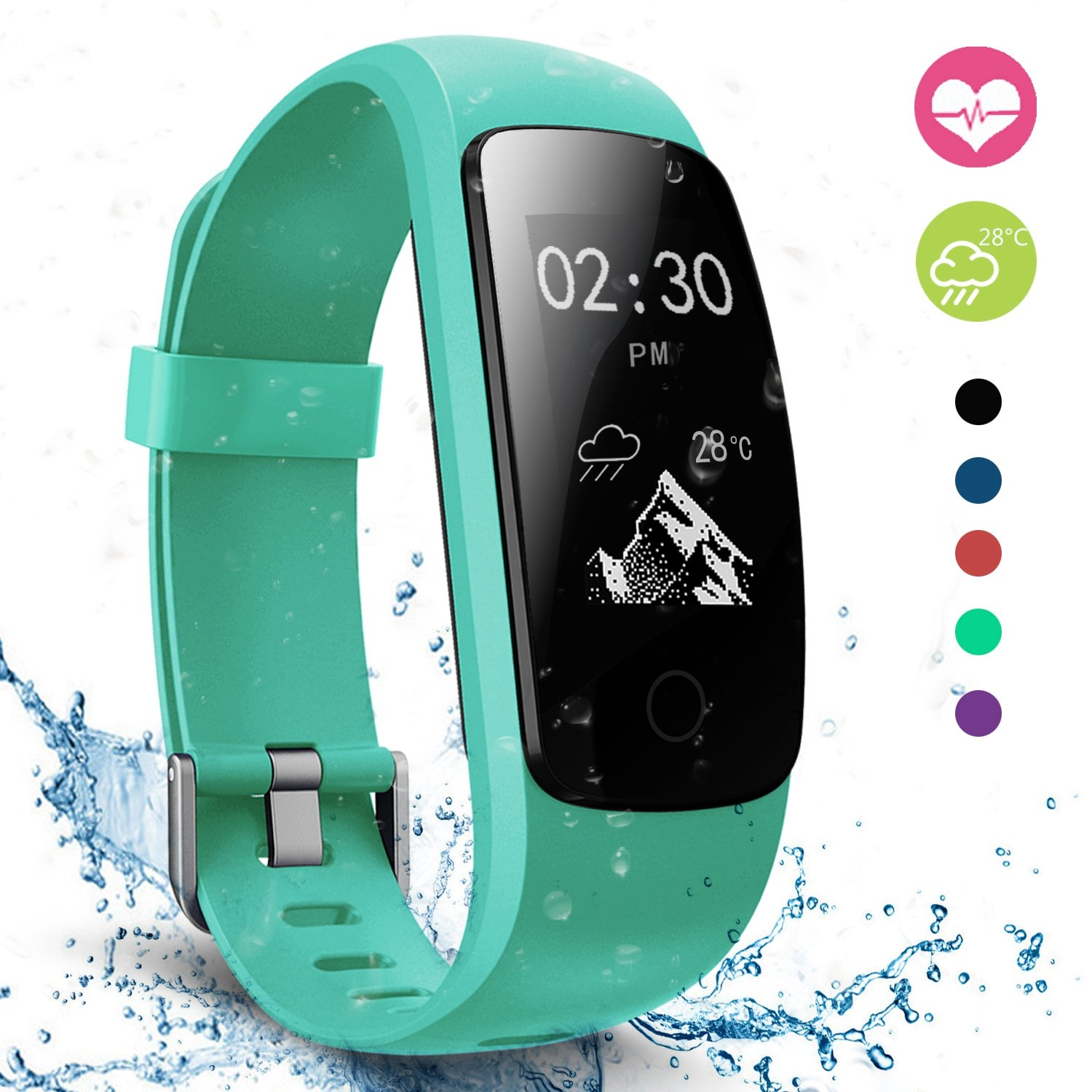 Fitness Tracker, moreFit Slim Touch HR Heart Rate Waterproof Activity…