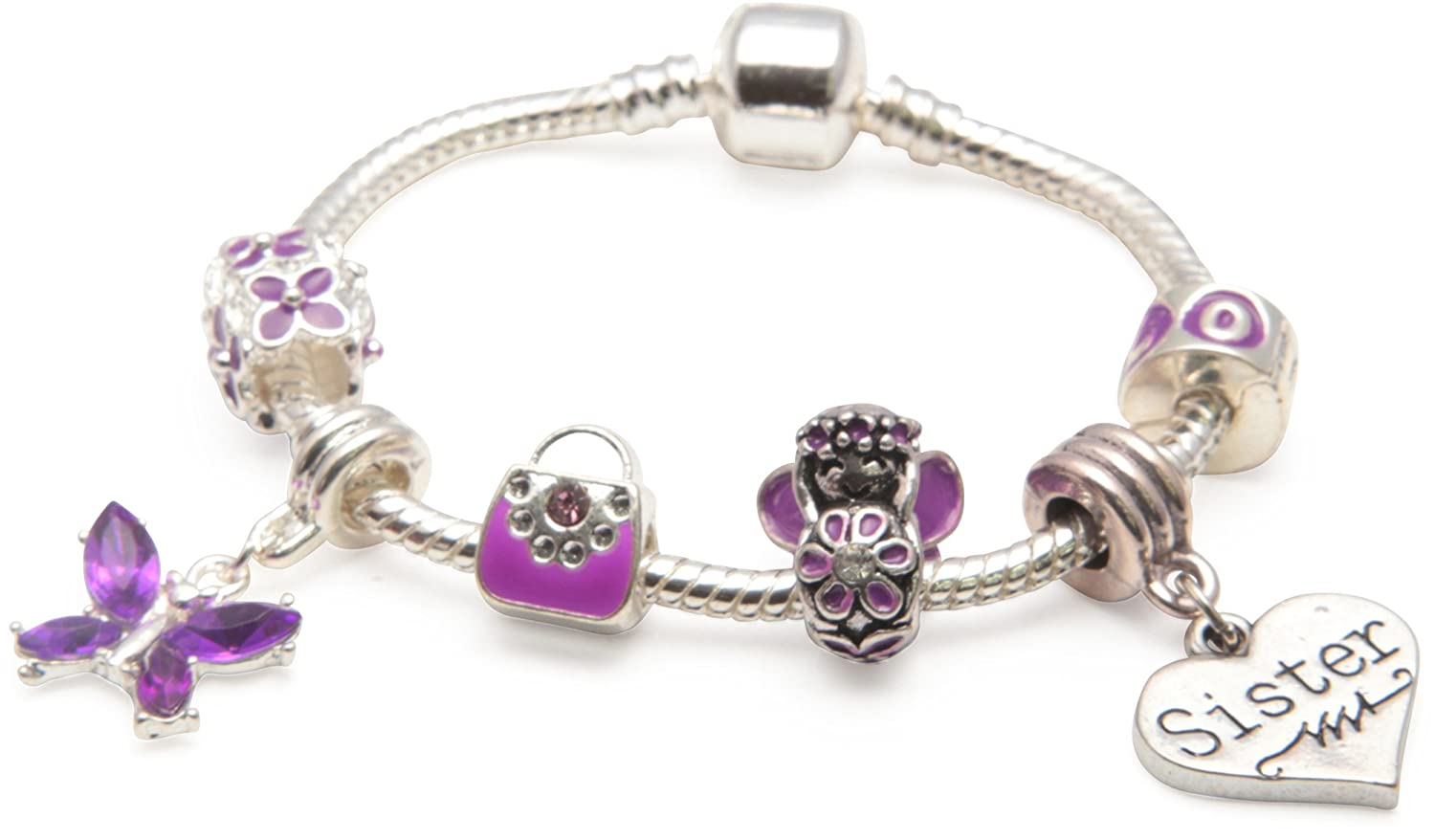 Liberty Charms Princess Childrens Purple Fairy Dream Silver Plated Charm Bead Bracelet