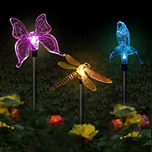 Solar Garden Stake Lights Hummingbird, Butterfly, Dragonfly Garden Lights Color Changing LED Wireless Solar Light 3PC Decor for Fence, Yard, Gardens, Flowerbed