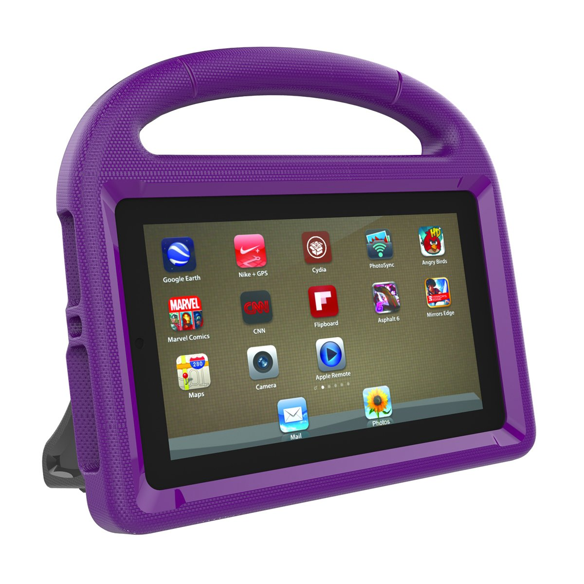 LEDMOMO Handle Stand EVA Protective Cover Shockproof Case for Amazon Kindle Fire 7 Tablet (Purple)