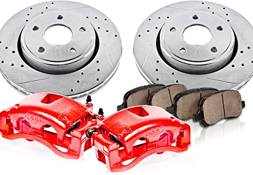 Ceramic Pads Performance Kit Quiet Low Dust Rotors 2 4 2 Calipers + Callahan CCK12686 FRONT Powder Coated Red