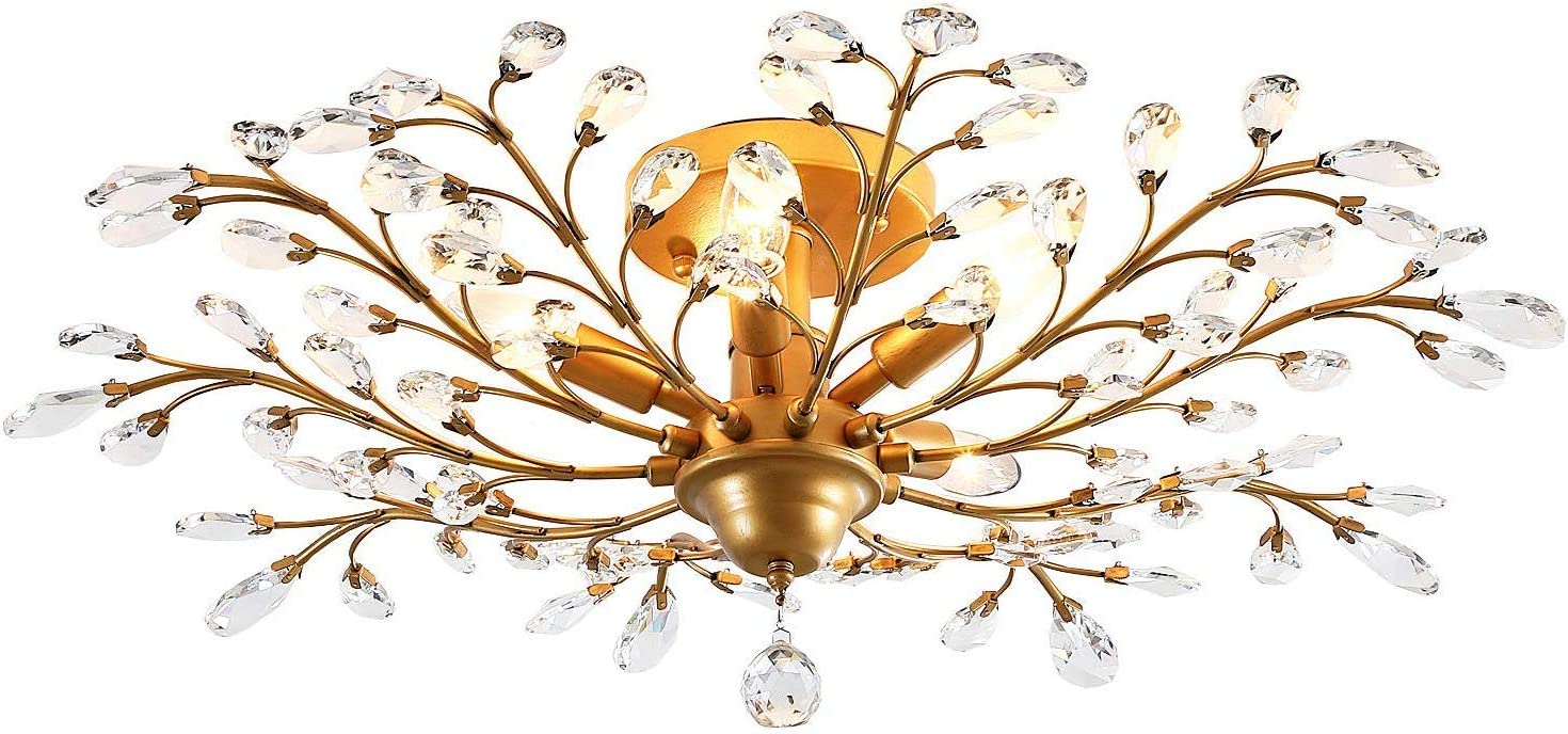 IJ INJUICY Vintage Crystal Metal E12 Branches Ceiling Light Fixtures Retro Wrought Iron French Villa Ceiling Pendant Lamp Living Room Bedroom Restaurant Porch Chandelier Dia. 31.5 Inch Bronze
