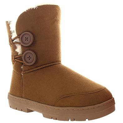 7e79ba3e76adbe Damen Schuhe Twin Knopf Fell Schnee Regen Stiefel Winter Fur Boots - Licht  Tan Gr.