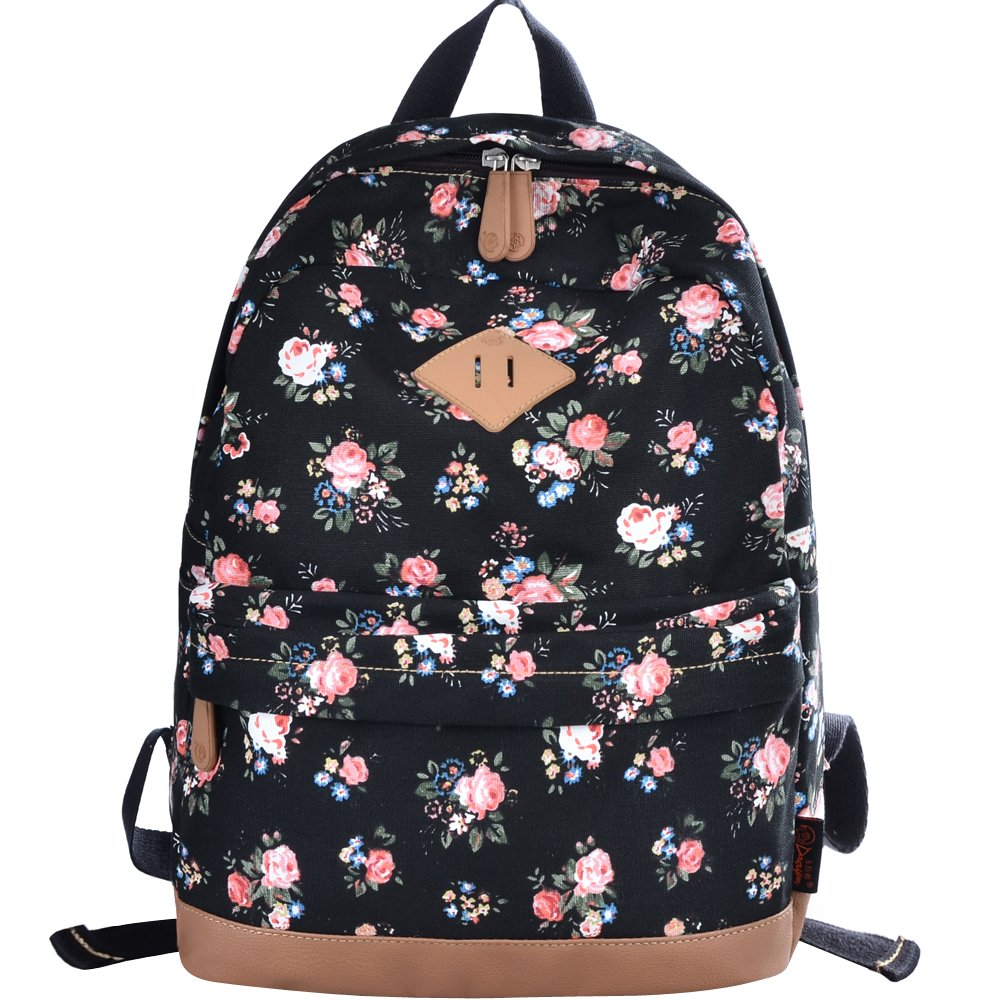 DGY Womens Peony Pattern Design Korean Fashion Casual Preppy Style Backpack G00133 Black by DGY