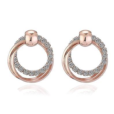 53e3b0993a39db Amazon.com: XIYA New Fashion Exquisite Double Round Rhinestone Stud  Earrings Rose Gold Color Earrings/Girls Jewelry E395 1: Jewelry