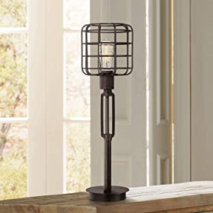 Industrial Modern Desk Table Lamp Bronze Cage Shade Edison Style Bulb for Living Room Family Bedroom Office - Franklin Iron Works