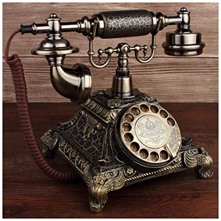 XIUXIU Telefono fijo Tocadiscos de Bronce Europeo Rotativo ...