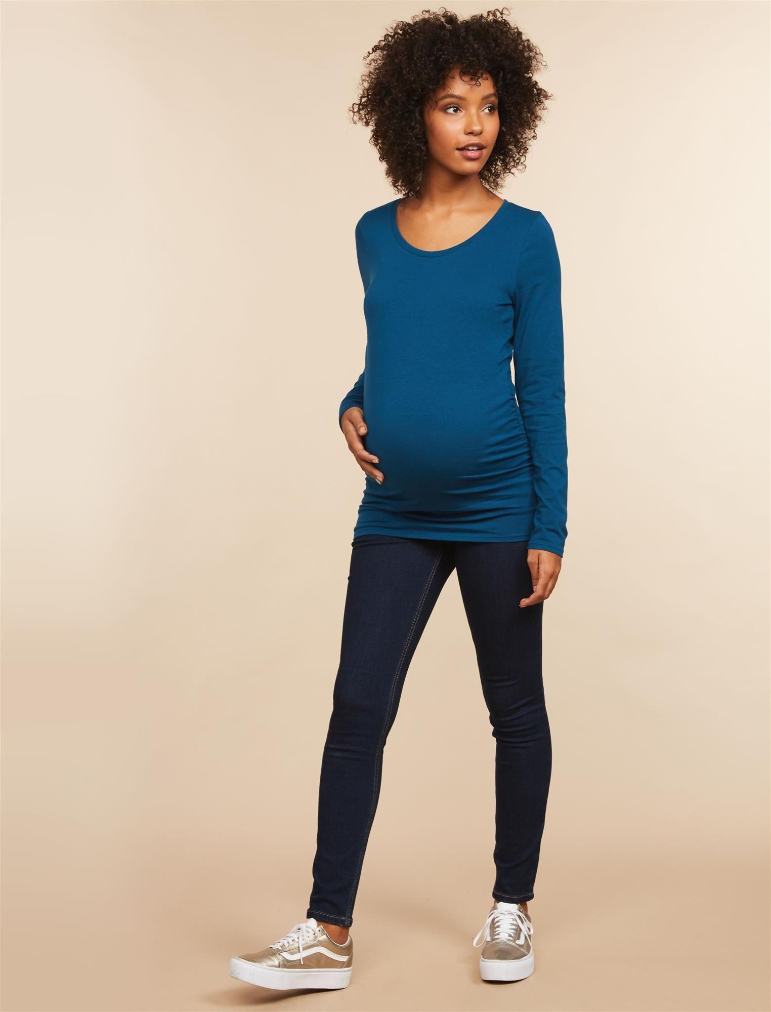 Motherhood Maternity Women's Maternity Super Stretch Secret Fit Belly Skinny Leg Denim Jean, Dark Wash, Petite Small