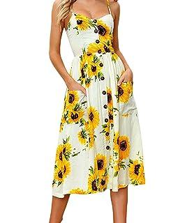 JIANLANPTT Summer Women Sexy Spaghetti Strap Floral Boho Midi Dresses Vestidos