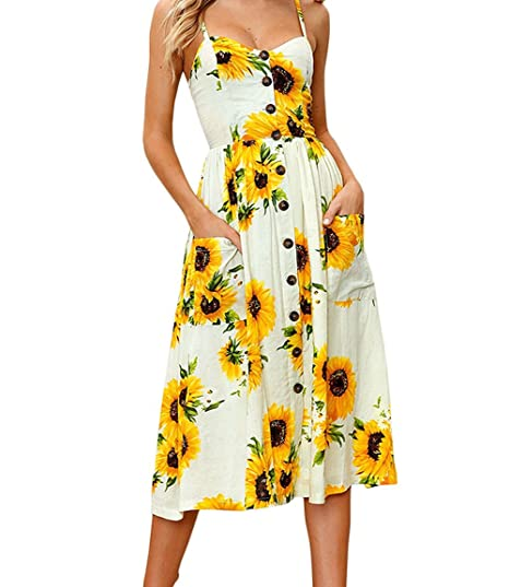 JIANLANPTT Pretty Yellow Sunflower Floral Print Spaghetti Strap Dress V-Neck Front Button Casual Dresses