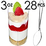 DLux 28 x 3 oz Mini Dessert Cups with Spoons, Slanted Triangle - Clear Plastic Parfait Appetizer Cup - Small Disposable Reusable Serving Bowl for Tasting Party Desserts Appetizers - with Recipe Ebook