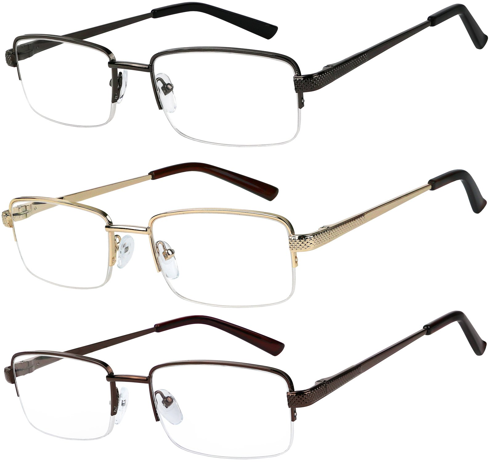 Reading Glasses Set of 3 Half Rim Metal Glasses for Reading Quality Spring Hinge Readers Men and Women +2 by Success Eyewear