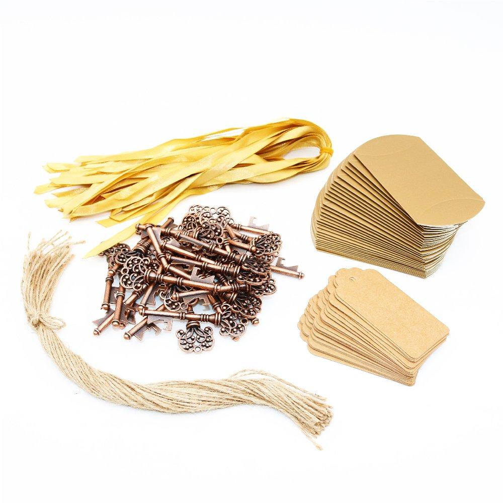 BITEYI Clave Abrebotellas,Vintage Skeleton Claves con Caja de dulces y Tarjeta,Recuerdos de Bodas y Fiestas 30 piezas Style #2