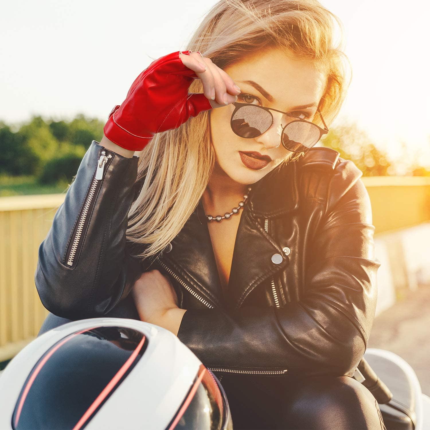 Style A, Red 2 Pairs Fingerless Gloves PU Leather Fingerless Gloves Fingerless Dance Gloves Punk Half Finger Driving Leather Gloves Motorcycle Fashion Driving Gloves for Women