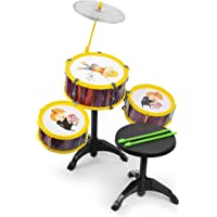 El Figo Kids Jazz Hip Hop Drum Set with Seat (Multicolour)