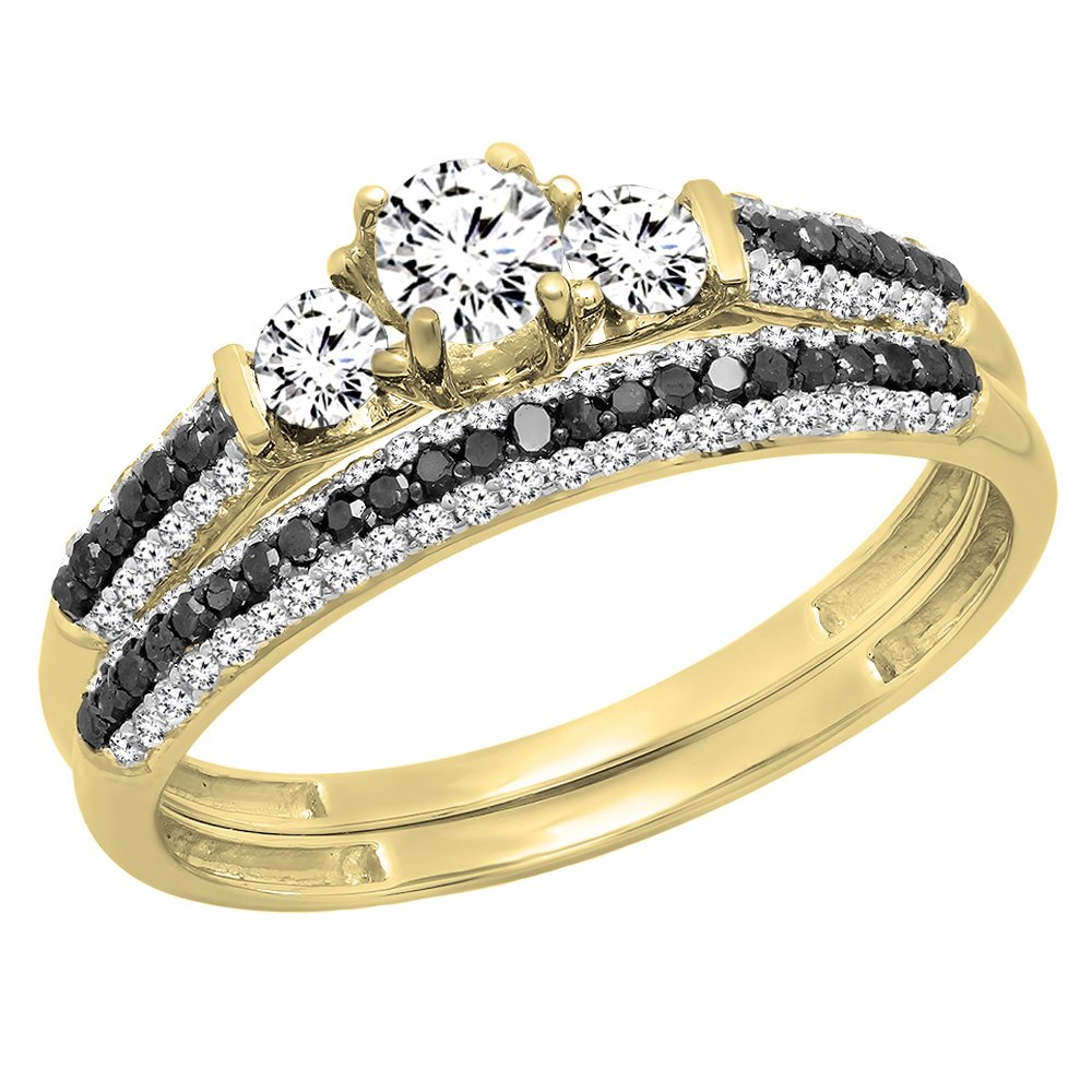10K Yellow Gold White Sapphire, Black & White Diamond 3 Stone Bridal Engagement Ring Set (Size 5)