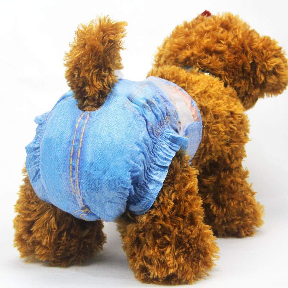 Pa/ñales para Perro 3 Bolsas 24 Unidades Pet Soft Pa/ñales Suaves para Mascotas Estilo de Vaquero M 24count Pa/ñales Desechables para Mascotas Vaqueros superabsorbentes