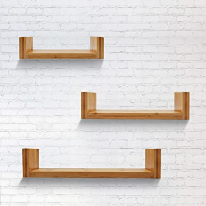 XiaZ Floating Shelves Wall Mount Set Of 3 U Shape Mounted Bookshelf Hanging Storage