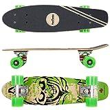 FunTomia Mini-Board Cruiser Skateboard 57cm aus 7-lagigem kanadischem Ahornholz inkl. Mach1 Kugellager - mit oder ohne LED Rollen
