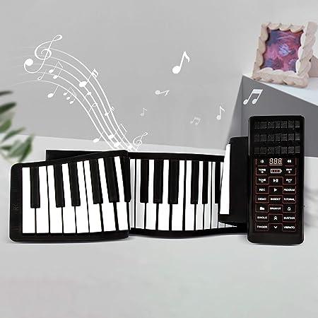 TTLIFE Roll Up Piano Teclado portátil de 88 teclas Piano desplazable con amplificador incorporado Batería recargable Teclado MIDI y Bluetooth