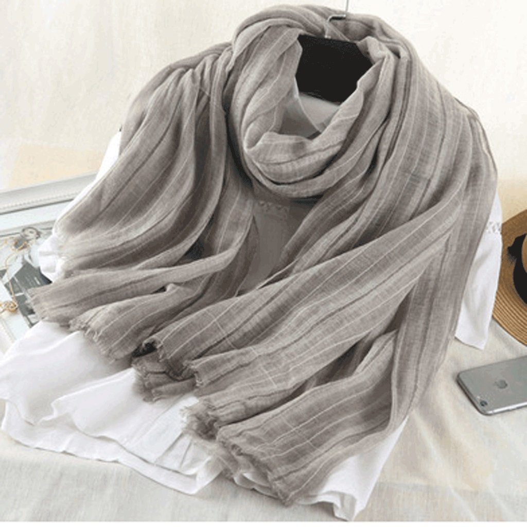 D Softgo Scarf Shawl Pure Cotton and Linen Blended Scarf Shawl Women's Long Section Spring and Autumn Winter Warm Literary Solid color Scarf (color   C)