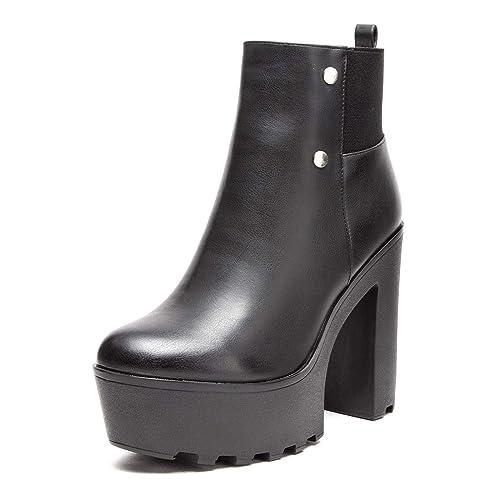MForshop Stivaletti Tronchetto Donna Tacco carrarmato Track Shoes Pizzo  Elastico kl-055 - Nero 41b88c31805