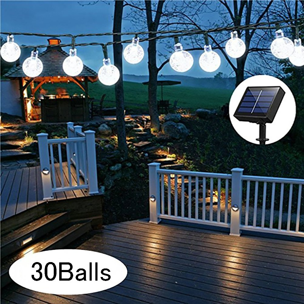 JINLE Solar Globe String Lights, 33 Feet 30 Crystal Balls Waterproof LED Fairy Lights, 8 Modes Outdoor Starry Lights Solar Powered String Lights for Home, Garden, Yard Party Wedding (warm white)