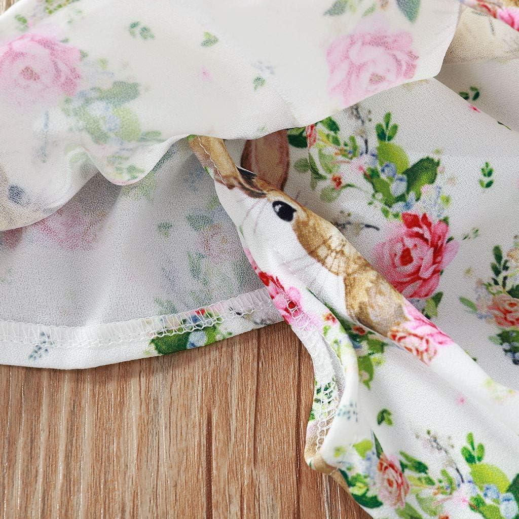 Cwemimifa S/äugling Baby M/ädchen Ostern /Ärmellos Cartoon Kaninchen Floral Druck Tr/ägerlos Top Kleid Blume Shorts Sommer Babykleidung Outfits 1-5 J