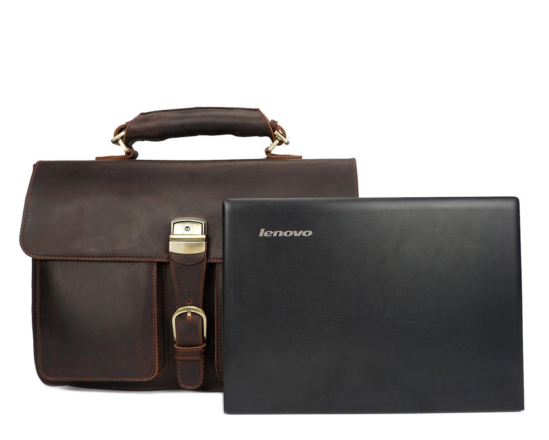 MUMUWU Mens Business Bag Crazy Horseskin Retro Handbag Briefcase First Layer Leather Shoulder Bag Color : Brass, Size : M