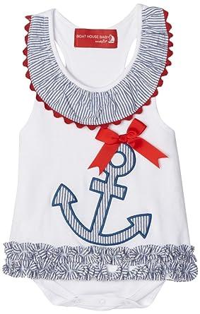 Amazon.com: Mud Pie Boathouse bebé azul y blanco vestido de ...