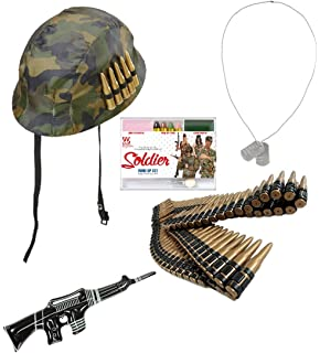 79936d35a29 Super Soldier Army Camouflage Military Unisex Camo Bullet Helmet Hat Plastic  Bullet Belt Metal Dog Tags Inflatable Gun…