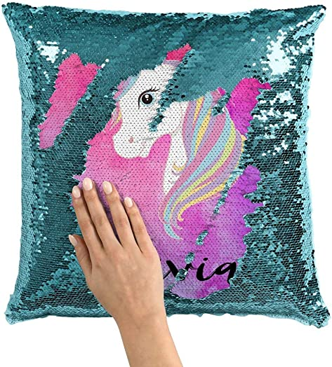 Violet Victoria Fan Star Personalized Unicorn Sequin Mermaid Flip Pillow – Pink Watercolors Turquoise Sequins