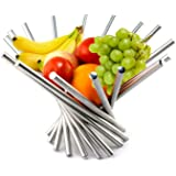 Pro Fruit Bowl Stainless Steel Sturdy and Anti-rust with Brushing Pattern Foldable Fruit Bowl - Silver
