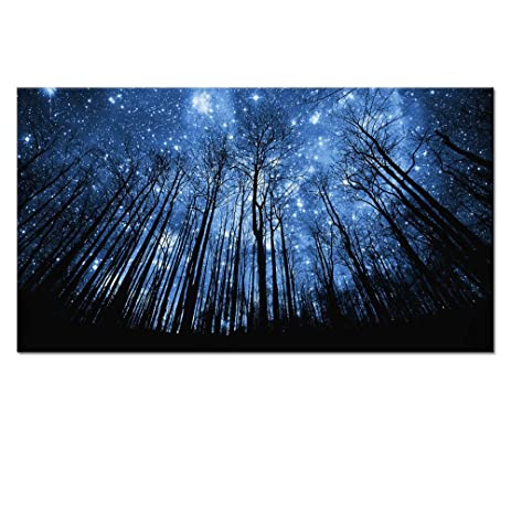 20x36 starry night forest canvas wall art printslandscape canvas picture wall
