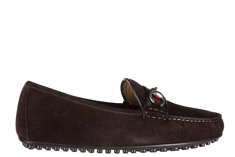 Gucci Mocassini Uomo In Camoscio Nuovo Queen - Mocasines de Piel para hombre marrón marrón marrón Size: 42.5: Amazon.es: Zapatos y complementos