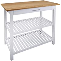 Casual Home Kitchen Island with Solid American, Natural Cherry Top, White Base (New)