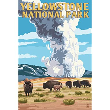 Yellowstone National Park, Wyoming - Old Faithful Geyser and Bison Herd (12x18 Art Print, Wall Decor Travel Poster)