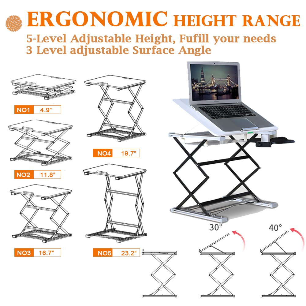 Annstory Laptop Desk, Portable Riser and Standing Table Adjustable Riser Height 4.9''-31'' Sit Or Stand Up Desk Easy Height Adjustments Table Office Desk Laptop Desk Tray by Annstory (Image #5)