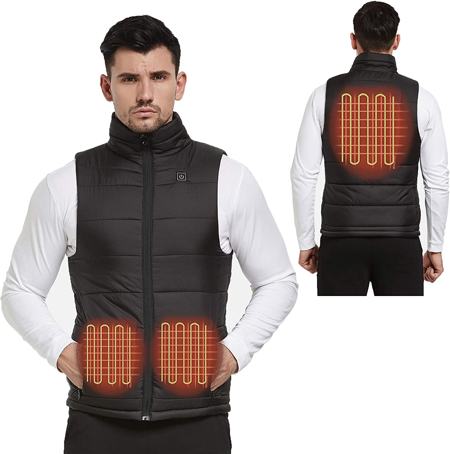 Lightweight Heated Vest for Men with 7.4V Battery Pack Adjustable Electric Warm Hunting Jacket