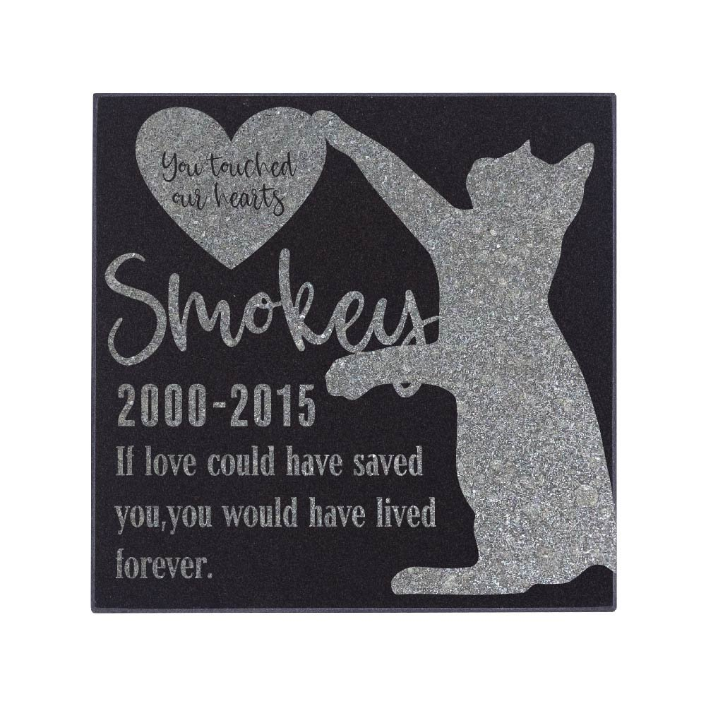 Be Burgundy Personalized Memorial Pet Stone, You Touched Our Hearts - Premium Granite Cat Marker Grave Tombstone - Loss of Pet Gift-6-6X6