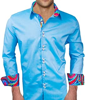 product image for Blue with Multi-Colored Designer Dress Shirt - Made in USA