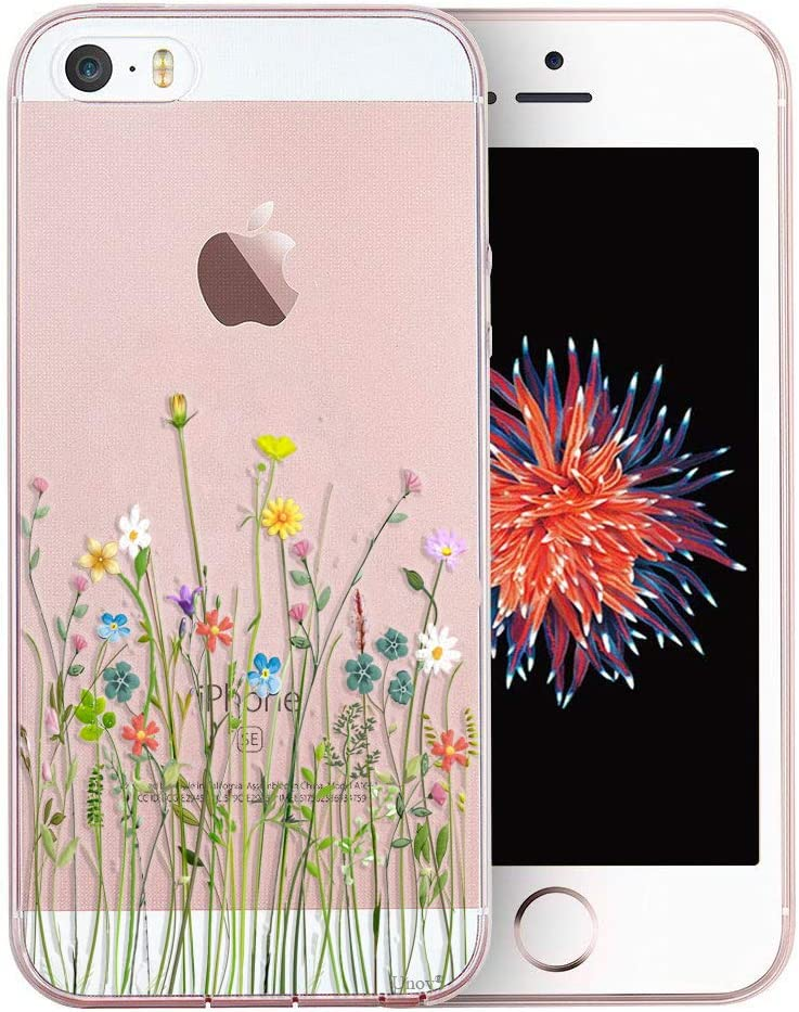 Unov Case for iPhone SE (2016) iPhone 5s iPhone 5 Clear with Design Embossed Pattern TPU Soft Bumper Shock Absorption Slim Protective Back Cover 4 Inch (Flower Bouquet)