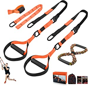 LPLIG Bodyweight Resistance Training Straps, Complete Home Gym Fitness Trainer kit for Full-Body Workout, Included Door Anchor, Extension Strap, 16 Week Program, Fitness Guide(Red)