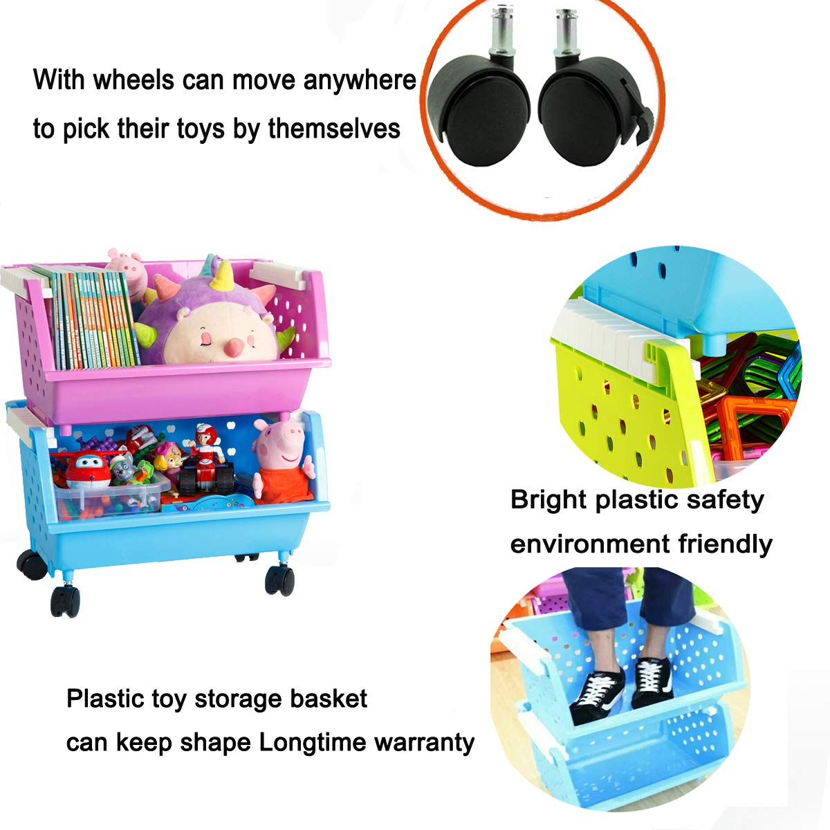 3 White MAGDESIGNER Kids Toy Box Chest Storage Bins Organizer with Wheels Can Move Everywhere Large 3 Basket Natural//Primary Primary Collection