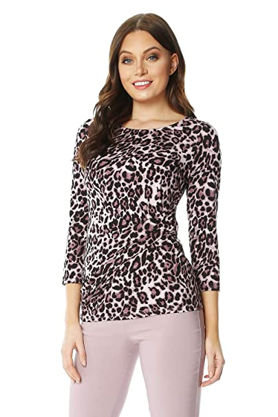74159de2527 Roman Originals Leopard Print Ruched Side Top - Ladies Fashion Top for  Formal Parties Gatherings Special Occasions Work Smart Wear Party Tops   Amazon.co.uk  ...