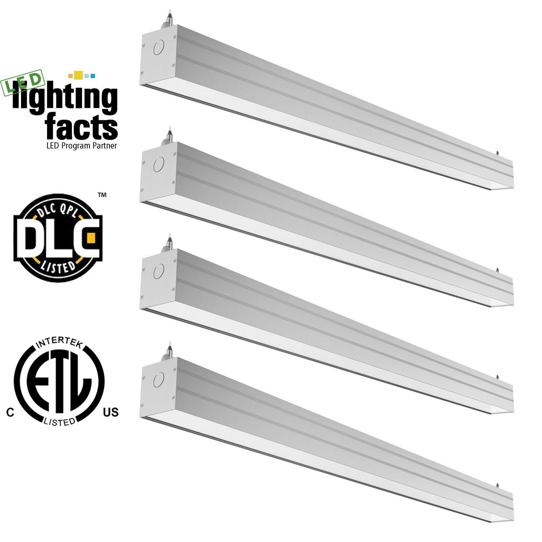 Hykolity 4ft 40W Linkable LED Architectural Ceiling Light Modern Linear Suspension Pendant Lamp Lighting Fixture 4600 Lumens 5000K Daylight White-Pack of 4