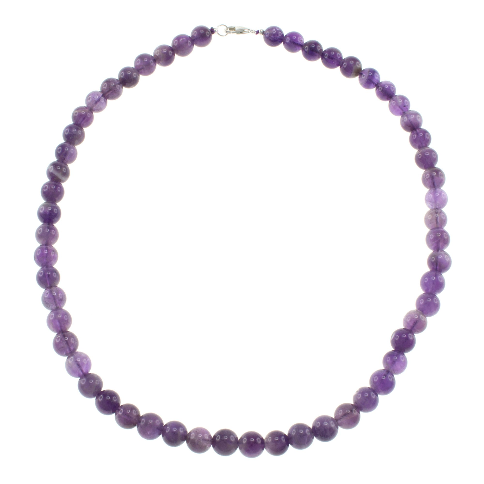 Pearlz Ocean Amethyst Round Beads Strand Necklace with Sterling Silver Clasp Jewelry for Women