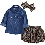 Toddler Baby Girl Denim Shirt Polka Dot Skirt Outfits Spring Winter Vintage Clothes Set