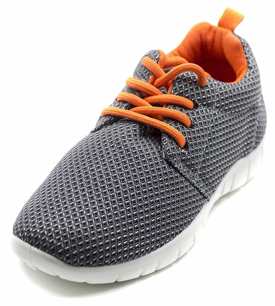 Orly Shoes Unisex Hot Style Lace Up Mesh Jogger Sneaker Flat Big Kid//Little Kid//Toddler 3 Little Kid M in Grey//Orange Size